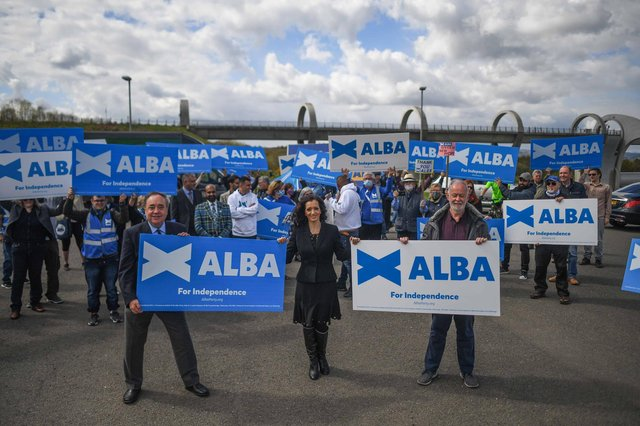 Alex Salmond, leader of the Alba Party, and Tasmina Ahmed-Sheikh are seen during a campaign event at The Falkirk Wheel on April 30, 2021 in Falkirk