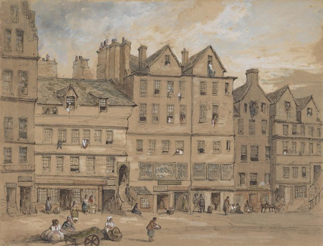 Gladstone's Land painted in 1855 by Henry Gibson Duguid (1805 - 1860). The building housed a tavern, an upmarket shop and a number of expensive apartments. It is now run by the National Trust for Scotland. PIC:  National Galleries of Scotland.