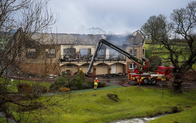 The clubhouse at Uphall Golf Club has been left gutted by the fire that broke out in the early hours of Saturday morning. Picture: Lisa Ferguson.