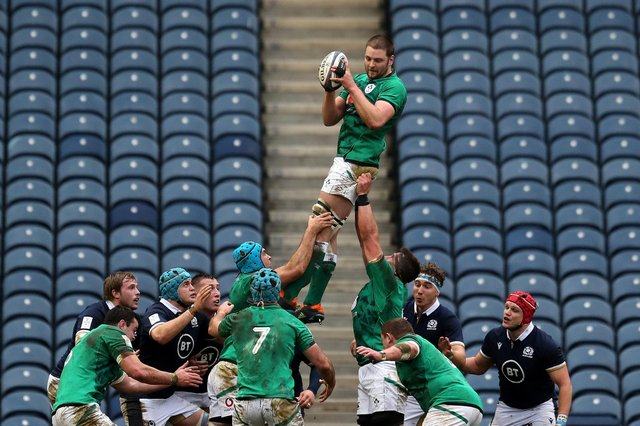Ireland dominated the lineout during their 27-24 victory over Scotland at BT Murrayfield. Picture: Jane Barlow/PA Wire
