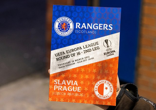 Matchday programme for the UEFA Europa League Round of 16 2nd Leg match between Rangers FC and Slavia Prague at Ibrox Stadium on March 18, 2021, in Glasgow, Scotland.  (Photo by Alan Harvey / SNS Group)