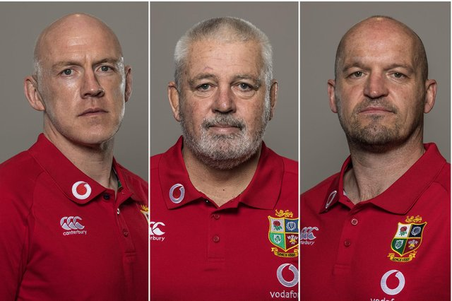 Lions head coach Warren Gatland, centre, will be assisted Scotland coaches Steve Tandy, left, and Gregor Townsend, right. Picture: Inpho