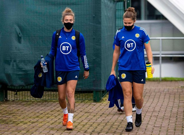 EDINBURGH, SCOTLAND - OCTOBER 20: Nicola Docherty (L) and Hannah Godfrey during a Scottish women's training session at the Oriam on October 20, 2020, in Edinburgh, Scotland. (Photo by Ross MacDonald / SNS Group)