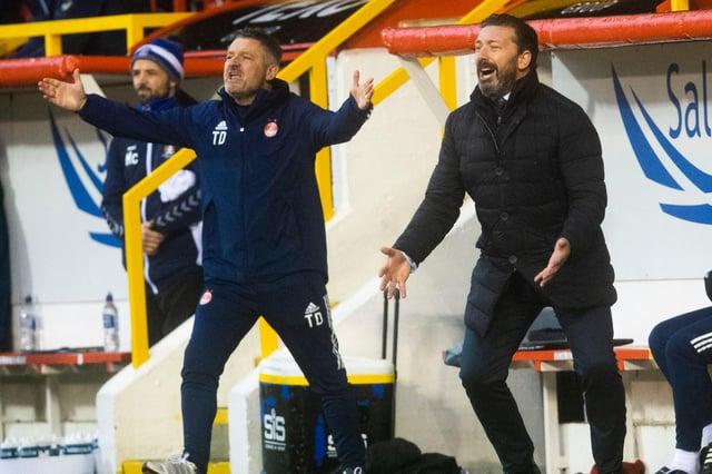 Derek McInnes, right, and Tony Docherty urge Aberdeen on against Kilmarnock.