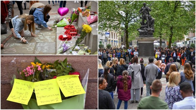 Messages are written and tributes laid in memory of the victims of the Manchester bombing two years after the attack (Getty Images)