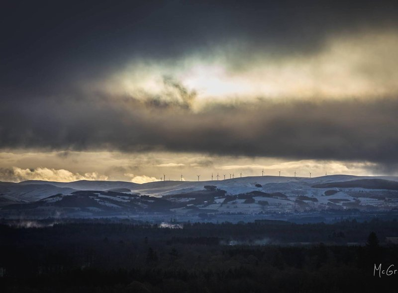 Allan McGregor photographed a spectacular sky over the turbines at Auchterarder.