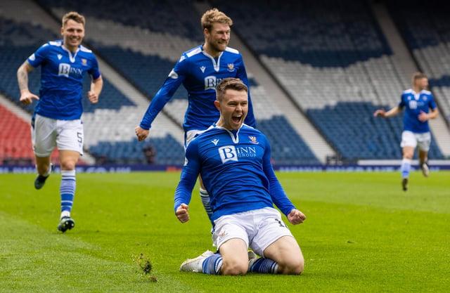 Glenn Middleton celebrates making it 2-0 St Johnstone in the Scottish Cup semi-final win over St Mirren at Hampden. (Photo by Alan Harvey / SNS Group)