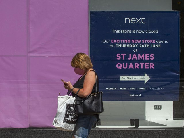 A sign in the former Next store directs customers to the St James Quarter   Picture: Lisa Ferguson