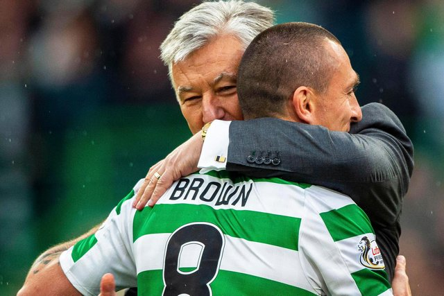 Celtic captain Scott Brown embraces  chief executive Peter Lawwell at full time of the club's treble treble earning Scottish Cup win in May 2019. (Photo by Bill Murray/SNS Group).