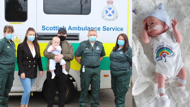A Scottish baby born premature meets the crew who saved his life.