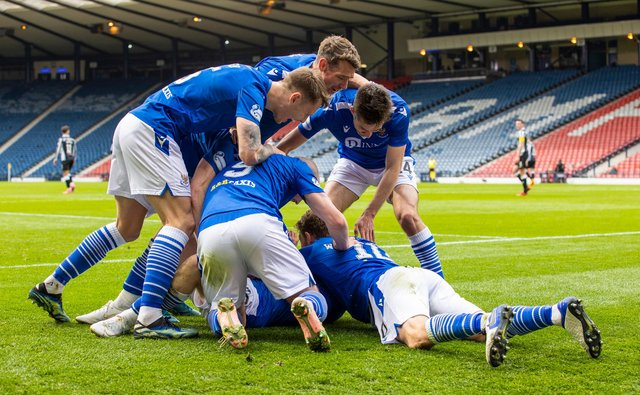 St Johnstone players surround Glenn Middleton after the substitute made it 2-0. (Photo by Alan Harvey / SNS Group)