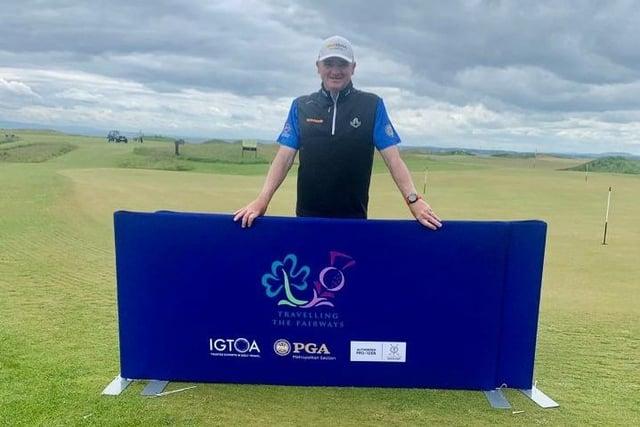 Paul Lawrie after signing for his nine-under-par 63 at Dumbarnie Links. Picture: PGA Scotland