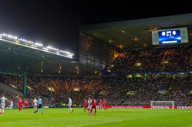 Celtic in action against Bayern Munich in October 2017,  the 2017-18 season the last time they competed in the Champions League . (Photo by Craig Foy/SNS Group).