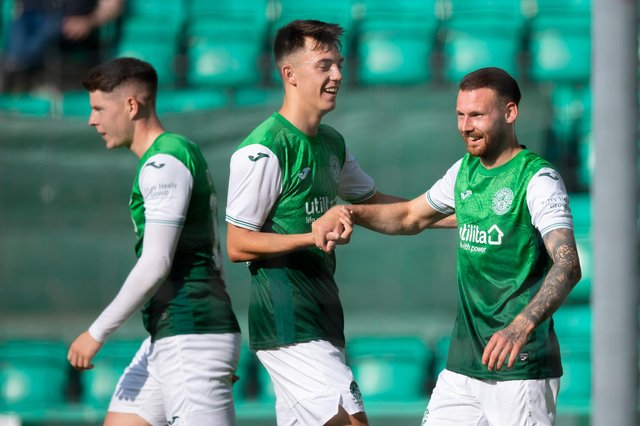 Martin Boyle is congratulated by Stevie bradley after netting the opener