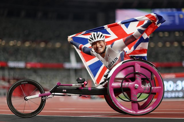 Sammi Kinghorn celebrates winning the bronze medal after competing in the Women's 100m - T53 final at the Tokyo 2020 Paralympic Games (Photo by Naomi Baker/Getty Images)