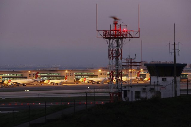 Airplanes are parked at Lisbon's international airport. Picture: AP Photo/Armando Franca