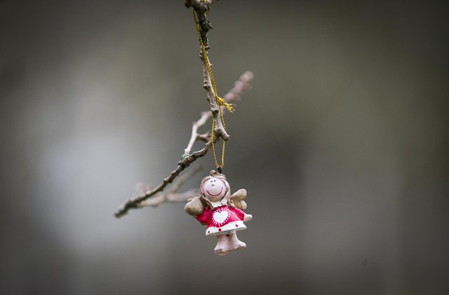 An angel figure hangs from a tree in the Garden of Remembrance at Dunblane Cemetery ahead of the 25th anniversary of the Dunblane massacre on Saturday.