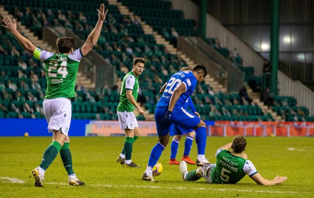 Alfredo Morelos stamps on Ryan Porteous during the first half of the Hibs-Rangers match on Wednesday
