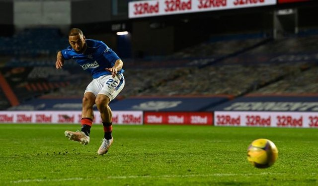 Rangers striker Kemar Roofe takes the penalty kick which was saved by Zander Clark to help clinch a 4-2 shoot-out victory for St Johnstone in the Scottish Cup quarter-final at Ibrox. (Photo by Rob Casey / SNS Group)