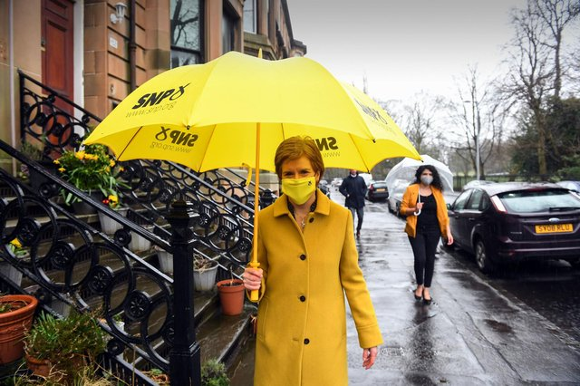 Scotland's First Minister Nicola Sturgeon campaigns in the First Minister's Glasgow Southside constituency in Glasgow. Picture: PA
