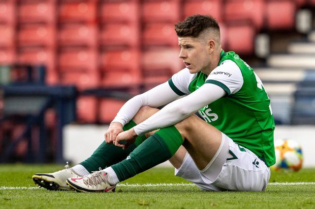 Kevin Nisbet is a picture of dejection at the end of the Scottish Cup final