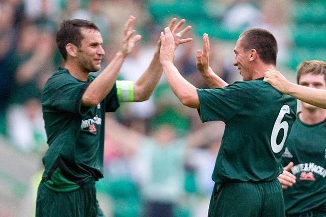 Stephen Glass and Scott Brown playing together at Easter Road. Picture: SNS