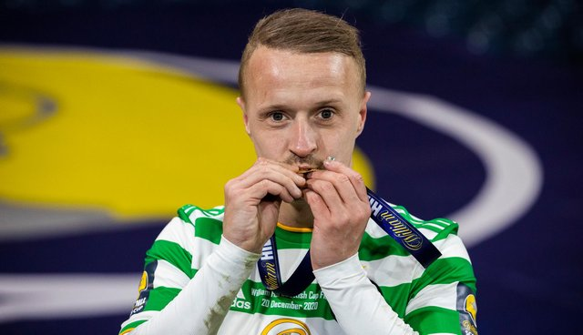 Celtic's Leigh Griffiths celebrates with his medal after the William Hill Scottish Cup Final between Celtic and Hearts at Hampden Park (Photo by Craig Williamson / SNS Group)