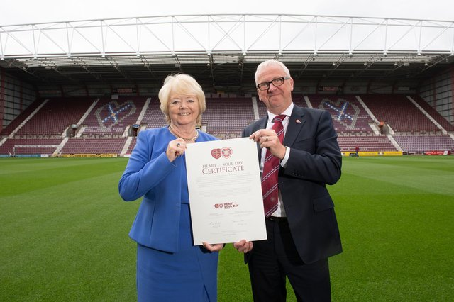 Hearts chairwoman Ann Budge with Foundation of Hearts chairman Stuart Wallace following the transfer of club ownership. (Photo by Paul Devlin / SNS Group)