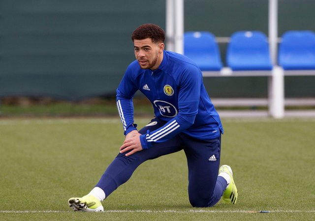 Scotland's Che Adams during a Scotland training session at Oriam, on March 22, 2021, in Edinburgh, Scotland. (Photo by Craig Williamson / SNS Group)
