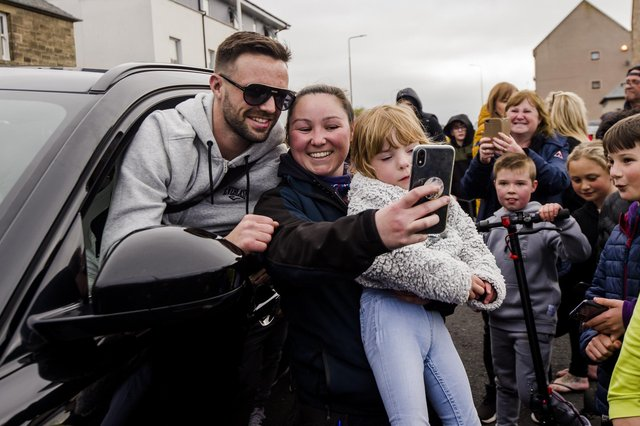 Josh Taylor received a rapturous reception when he arrived home to Prestonpans as the undisputed world champion. Picture: Euan Cherry
