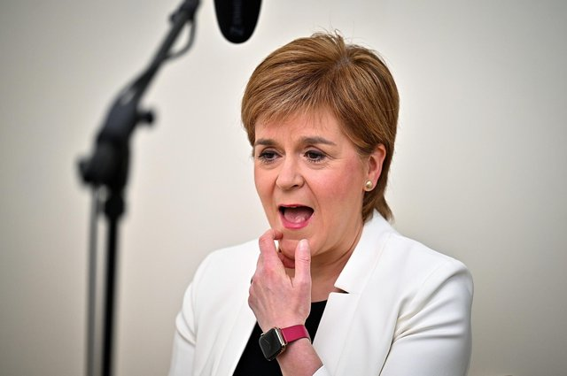 First Minister Nicola Sturgeon appearing on the BBC1 current affairs programme, The Andrew Marr Show from her home in Glasgow