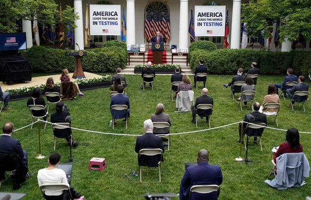 U.S. President Donald Trump speaks during a press briefing about coronavirus testing in the Rose Garden of the White House on May 11, 2020 in Washington, DC. (Photo by Drew Angerer/Getty Images)