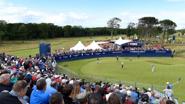Spectators look from the 15th grandstand during the 2019 Aberdeen Standard Investments Scottish Open at The Renaissance Club. Picture: Mark Runnacles/Getty Images.