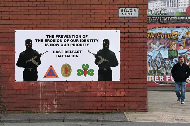 A Loyalist paramilitary mural pictured in Belfast in January (Picture: Charles McQuillan/Getty Images)