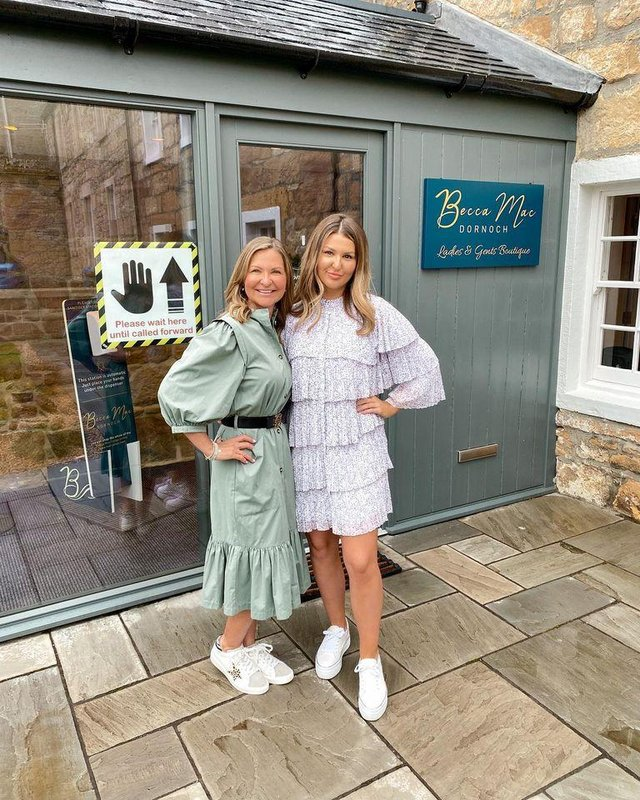 Rebecca Mackay, owner of Becca Mac in Dornoch, with her mother.