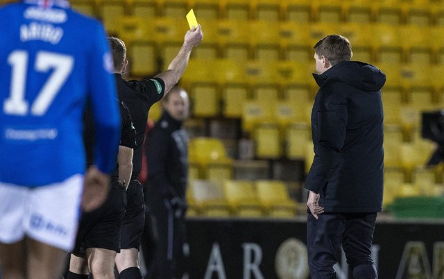 Referee John Beaton shows Steven Gerrard a red card during a Scottish Premiership match between Livingston and Rangers at The Tony Macaroni Arena, on March 03, 2021, in Livingston, Scotland. (Photo by Alan Harvey / SNS Group)