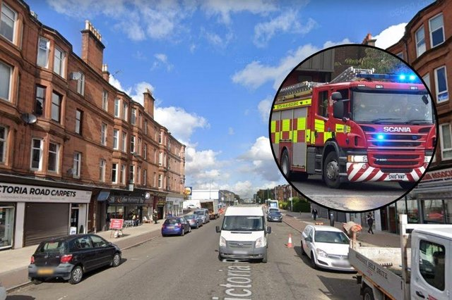 Victoria Road in Glasgow was closed by Police Scotland last night after emergency services were called to a building fire.