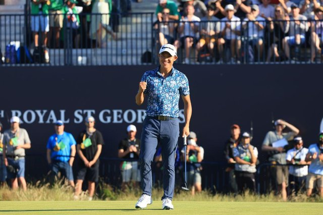 Collin Morikawa celebrates after his putt on the 18th hole to win the 149th Open at Royal St George's in Kent. Picture: Chris Trotman/Getty Images.