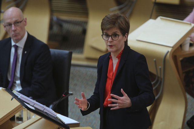 First Minister Nicola Sturgeon during First Ministers Questions at the Scottish Parliament, Edinburgh.