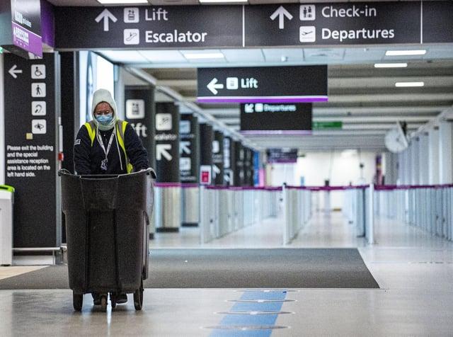 Passengers at Edinburgh Airport. Picture: Lisa Ferguson