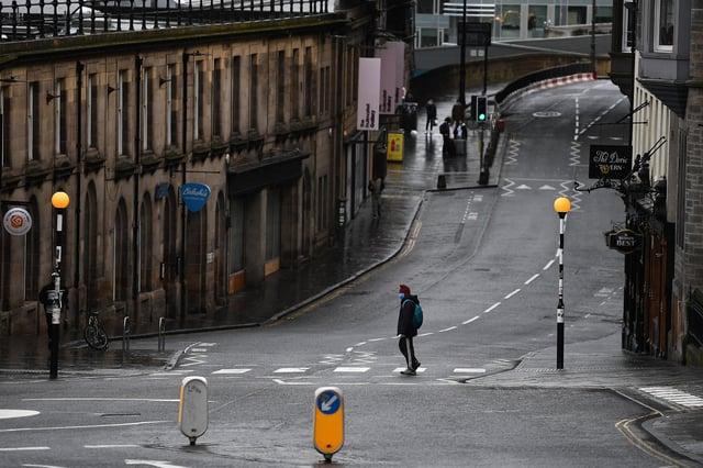 A deserted Edinburgh City Centre in the hours before lockdown began