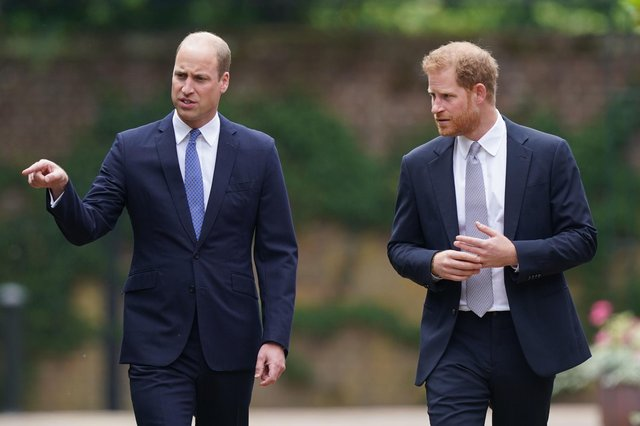 The Duke of Cambridge and Duke of Sussex arrive for the unveiling of a statue they commissioned of their mother Diana