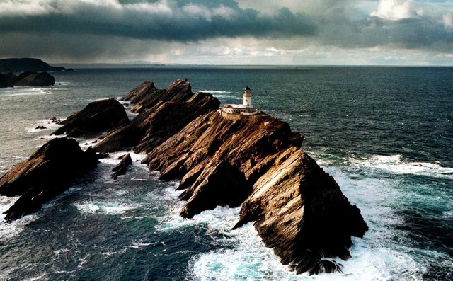 Muckle Flugga Lighthouse on the NW coast of the Island of Unst. the most northerly lighthouse in the UK.