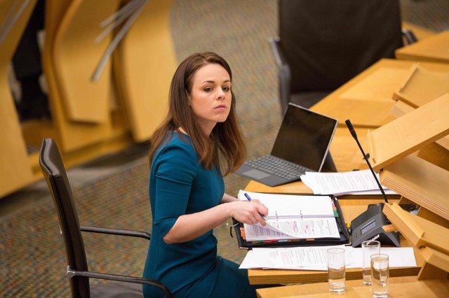 Finance Secretary Kate Forbes delivers her budget at the Scottish Parliament. Picture: Robert Perry/pool/AFP via Getty Images