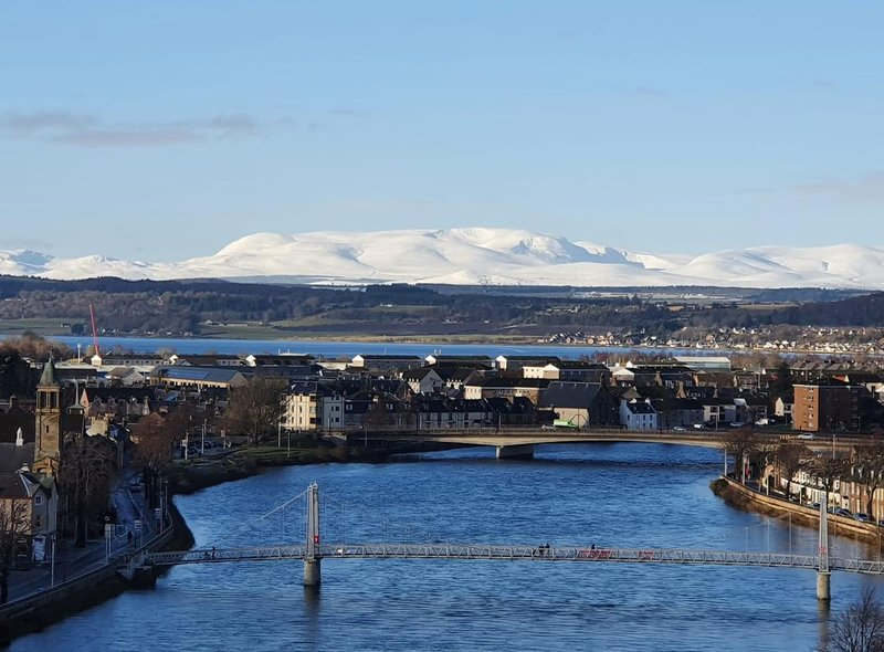 Brian Oliver took this picture of a snowy Ben Wyvis from Inverness Castle.