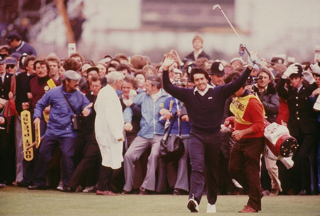 Seve Ballesteros celebrates on the 18th fairway on his way to his first Open victory at Royal Lytham St Annes in 1979. Picture: Steve Powell/Allsport