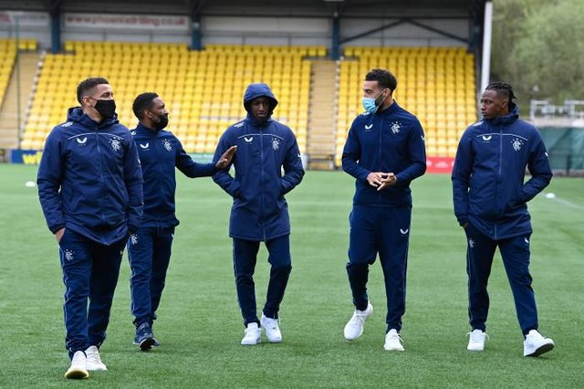 James Tavernier, Jermain Defore, Glen Kamara, Connor Goldson and Joe Aribo arrive at the ground during the Scottish Premiership match between Livingston and Rangers at the Tony Macaroni Arena on May 12, 2021, in Livingston, Scotland.  (Photo by Rob Casey / SNS Group)
