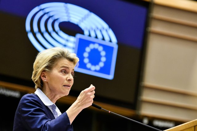 If Nicola Sturgeon is seen to side with EU Commission President Ursula von der Leyen in the row over vaccine supplies, this may not go down well with uncommitted voters   (Picture: John Thys/AFP via Getty Images)