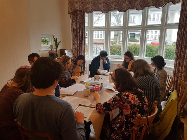 Jewish scholars studying the ancient texts of their religion