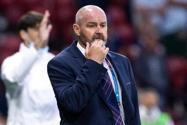 Scotland manager Steve Clarke looks on as his team are beaten 3-1 by Croatia at Hampden to make their exit from the Euro 2020 finals. (Photo by Alan Harvey / SNS Group)